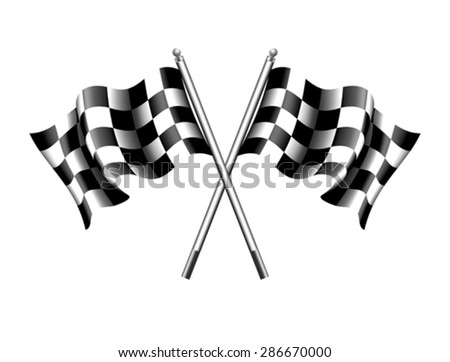 Chequered, Checkered Flags Motor Racing - Rippled black and white Crossed Chequered Flag - stock vector