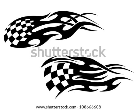 Chequered flag with black flames as a racing tattoo as a logo. Jpeg version also available in gallery - stock vector