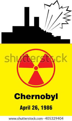 Chernobyl disaster. April. Radioactive pollution. Chernobyl Power Plant accident. Reactor explosion catastrophe. Vector illustration - stock vector