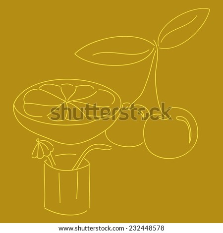 cherry and lemon - stock vector