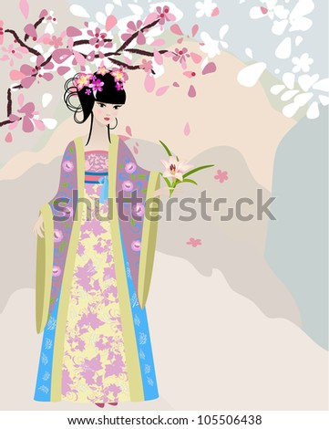 cherry blossom and a girl in national costume - stock vector