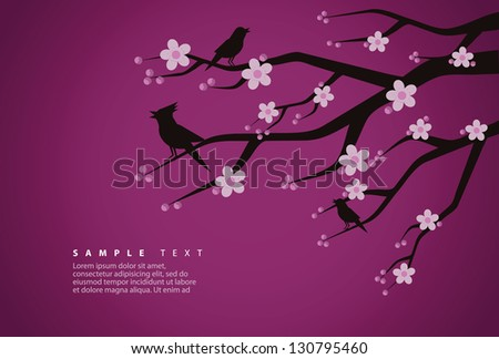Cherry Blossom and Bird Silhouettes. EPS 8 vector, grouped for easy editing. No open shapes or paths. - stock vector