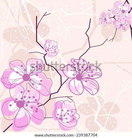 Cherry blossom background for your design - stock vector