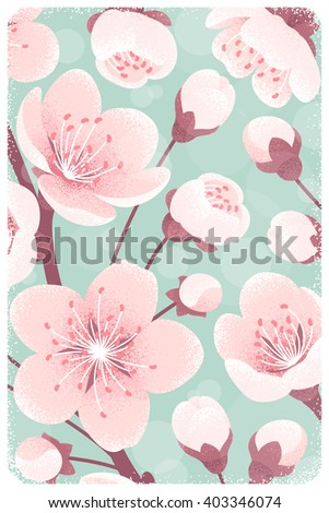 Cherry blossom background, spring flowers close up. Retro vector illustration. Design for invitation, banner, card, poster, flyer