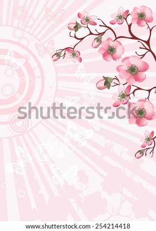 cherry blossom branch for your design - stock vector