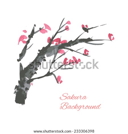 Cherry blossom branch illustration. Ink traditional style.  - stock vector