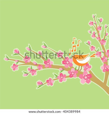 Cherry blossom branch with bird and music notes, vector illustration background