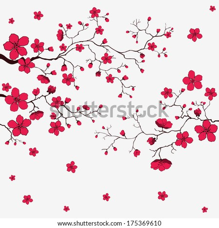 Cherry blossom card.  - stock vector
