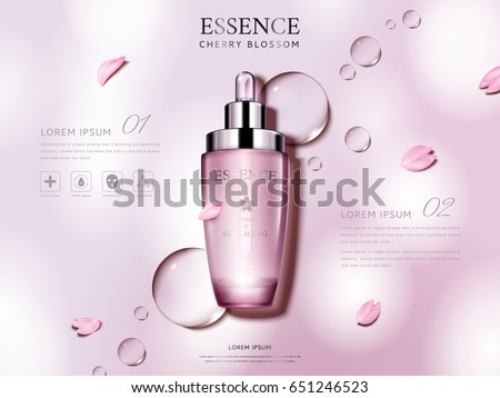 cherry blossom essence contained in a droplet bottle, with flower petals, pink background 3d illustration