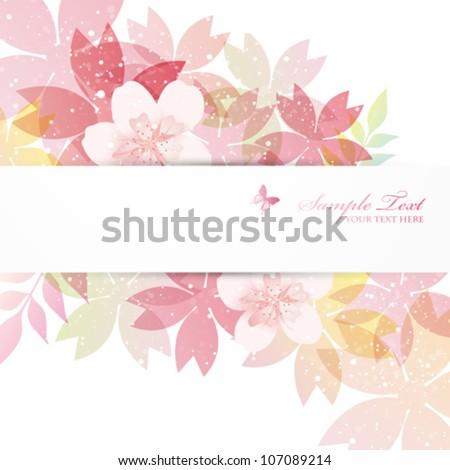 cherry blossom flowers background - stock vector
