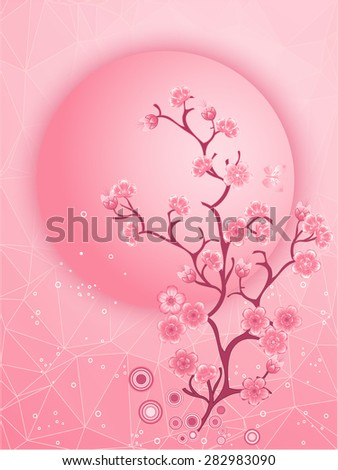 Cherry blossom motif. Nature template vector. Illustration