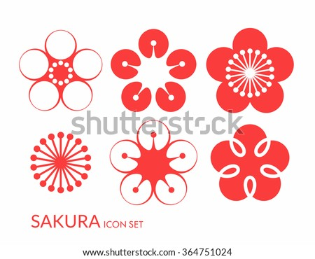 Cherry blossom. Sakura. Icon set. Spring