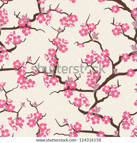 Cherry blossom seamless flowers pattern. - stock vector