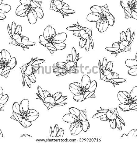 Cherry Blossom Seamless Pattern Black White Stock Vektor ...
