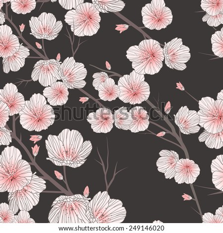 cherry blossom seamless pattern over black background  - stock vector