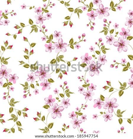 Cherry blossom seamless pattern. Vector illustration. - stock vector