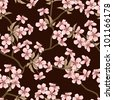 Cherry blossom vector background. (Seamless flowers pattern) - stock photo
