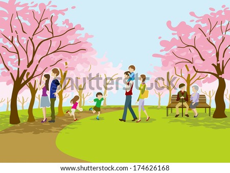 Cherry-blossom viewing on park - stock vector