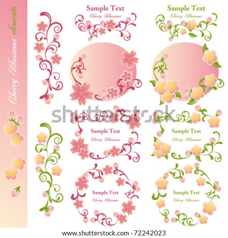 Cherry blossoms design elements. Illustration vector. - stock vector