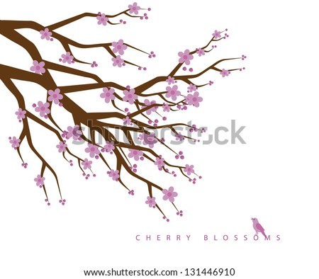 Cherry blossoms. EPS 8 vector, grouped for easy editing. No open shapes or paths. - stock vector