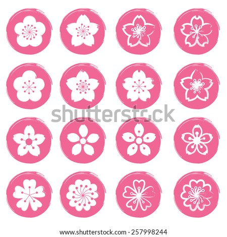 Cherry Blossoms or Sakura flowers Icons Set - stock vector