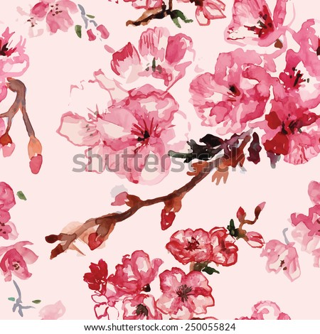 cherry blossoms watercolor pattern vector - stock vector