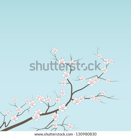 Cherry branch in blossom. Seasonal background. - stock vector
