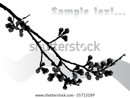 cherry branch with place for your text - stock vector