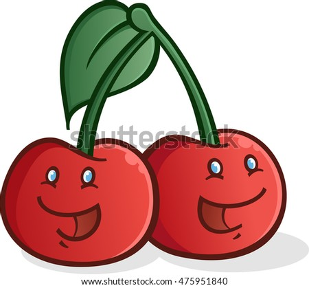Cherry Cartoon Characters Smiling