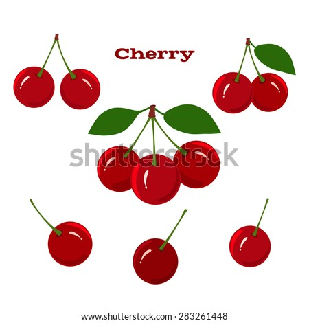 Cherry. Cherry fruit on a white background. - stock vector