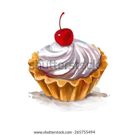 Cherry cupcake vector illustration  hand drawn  painted watercolor - stock vector