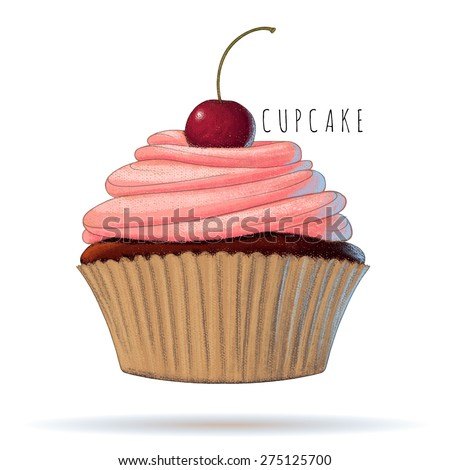 Cherry cupcake. Watercolor vector illustration - stock vector