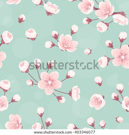 Cherry flowers seamless pattern, spring blossom. Retro vector background