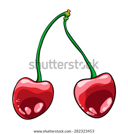 cherry hand drawn fruits isolated vector