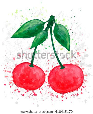 Cherry on white background. Watercolor vector illustration. Red berry design elements with blots and stains. Logo design template,  fruit or food icon. - stock vector