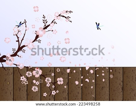cherry pink blossom - stock vector