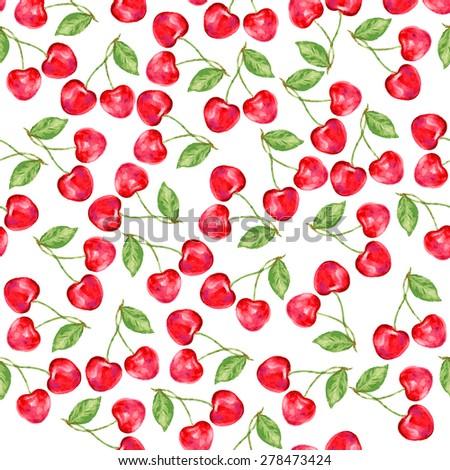 Cherry seamless vector pattern - stock vector