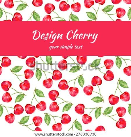 Cherry seamless vector pattern, frame - stock vector
