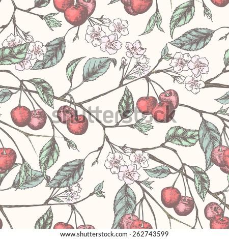 Cherry Seamless Vintage Pattern Floral Background