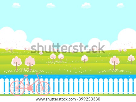 cherry tree and bicycle - stock vector