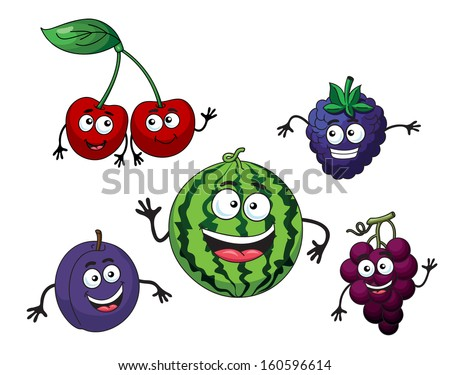 Cherry, watermelon, grape, bilberry and plum in cartoon style or idea of logo. Jpeg version also available in gallery - stock vector