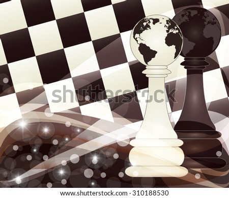 Chess banner with two pawns, vector illustration - stock vector