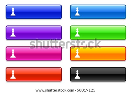 Chess Bishop Icon on Long Button Collection Original Illustration - stock vector