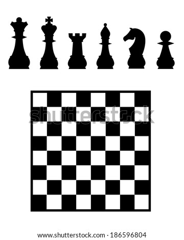 Chess Board and Pieces Set - Vector - stock vector