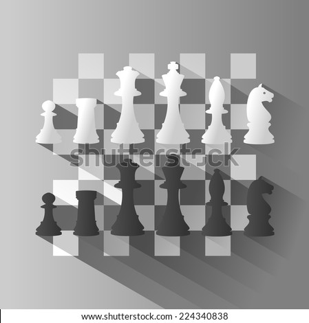 Chess Board with Chess Figure. vector illustration with long shadow. - stock vector