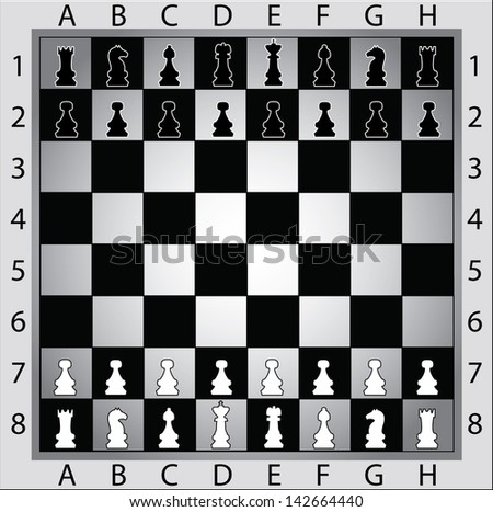Chess board with chess figures - stock vector
