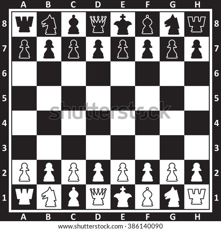 Chess board with chess figures, black and white, vector illustration. - stock vector