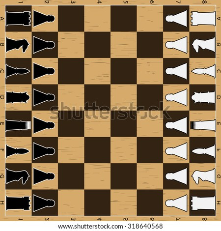 Chess board with figure. Game strategy, pawn and queen, king and chessboard, sport intelligence, vector graphic illustration - stock vector