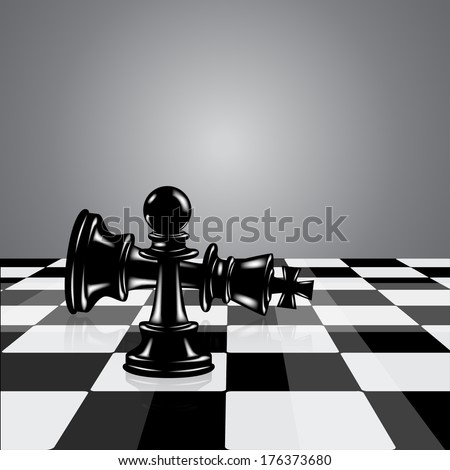 chess board with pawn and king  - stock vector