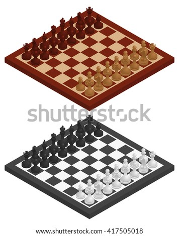Chess. Chessboard, chessmen on it in black and white and wooden variations. Vector isometric illustration